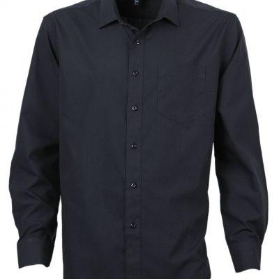 camisa trevira manga larga negro