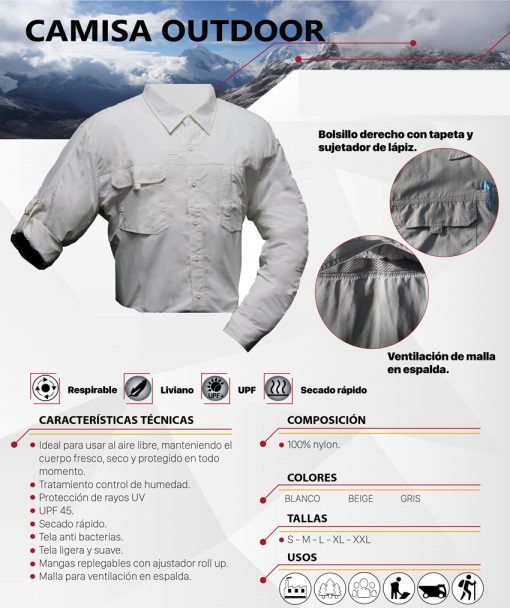CAMISA OUTDOOR TACTEL UV