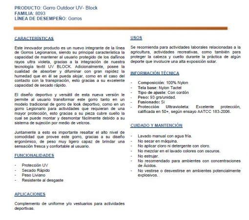 Gorro Legionario Tactel UV Block