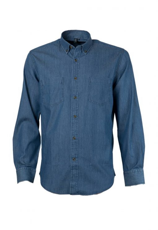 camisa denim azul