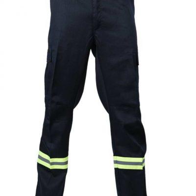 pantalon cargo gabardina con reflectante azul